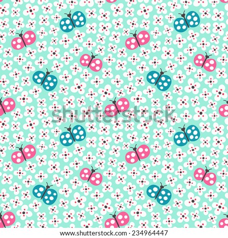 Butterfly seamless background. Vector illustration. - stock vector