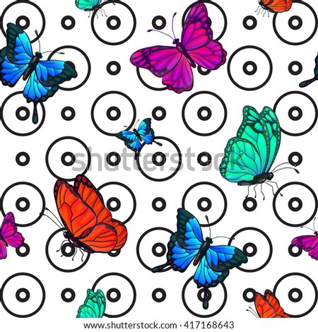 Butterfly Seamless Pattern. Background with Butterflies. Vector illustration - stock vector