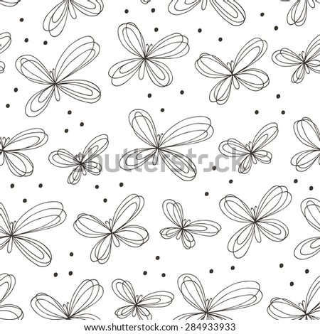 Butterfly seamless pattern. Vector illustration. - stock vector