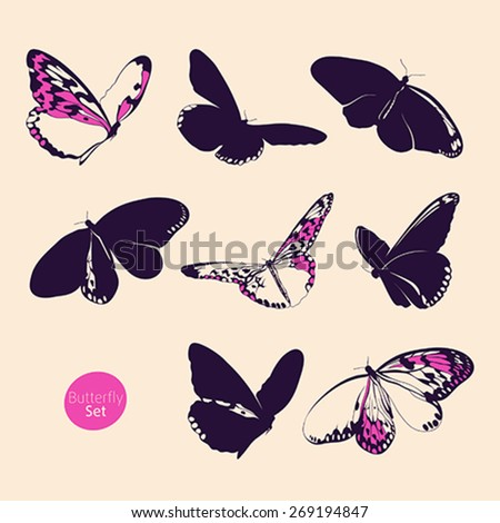 Butterfly set - stock vector