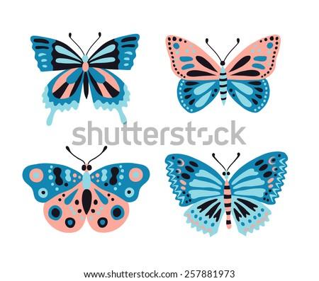Butterfly set. Vector illustration. - stock vector