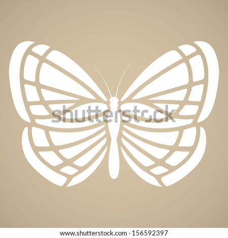 Butterfly silhouette in tattoo style - stock vector