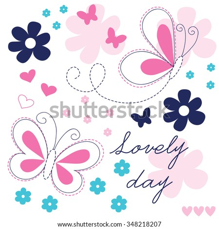 butterfly, summer and flowers vector illustration - stock vector