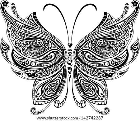 Butterfly Tattoo - stock vector