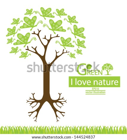 Butterfly. Tree design. Go green. Save world. vector illustration. - stock vector