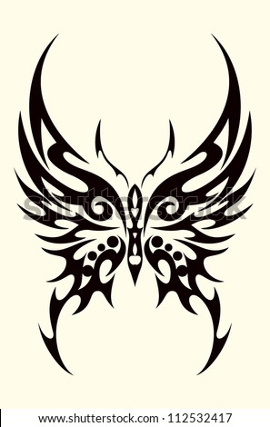 Butterfly Tribal Tattoo - stock vector
