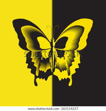 Butterfly. Universal illustration: background, symbol, logo, cover - stock vector