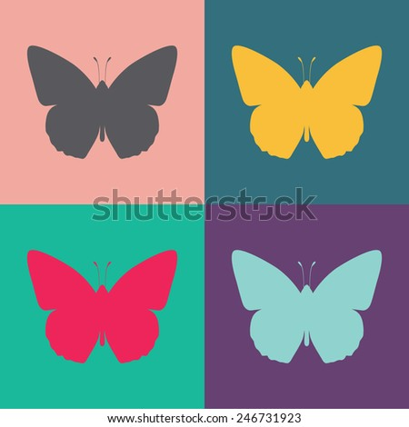 Butterfly vector icon. - stock vector