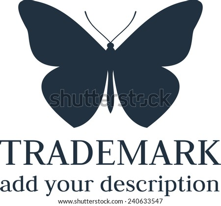 Butterfly wings silhouette isolated vector icon logo  - stock vector