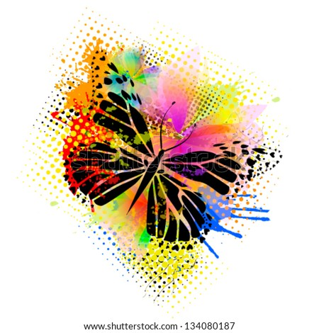 Butterfly with spots of paint - stock vector