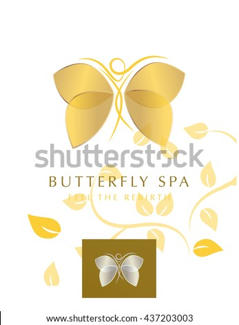 BUTTERFLY WOMAN SILHOUETTE WITH GOLDEN WINGS , VECTOR LOGO / ICON - stock vector