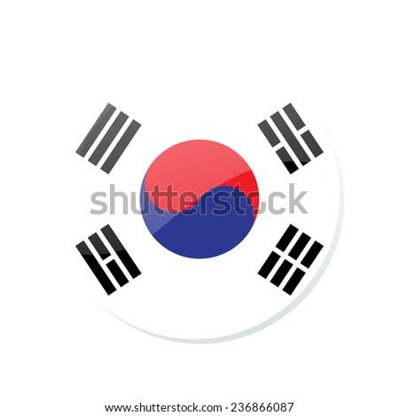 button Flag of South Korea - stock vector