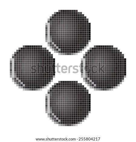button gamepad pixel art - stock vector