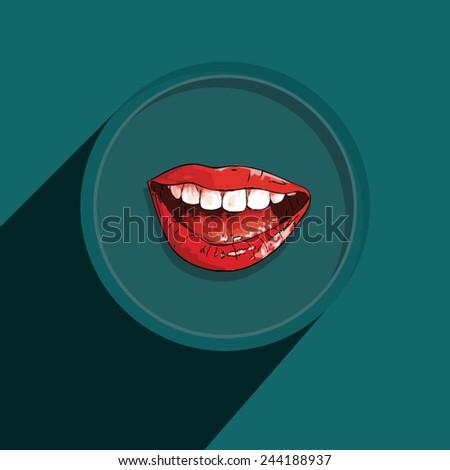Button-Icon: Mouth. Vector Illustration. Eps 10 - stock vector