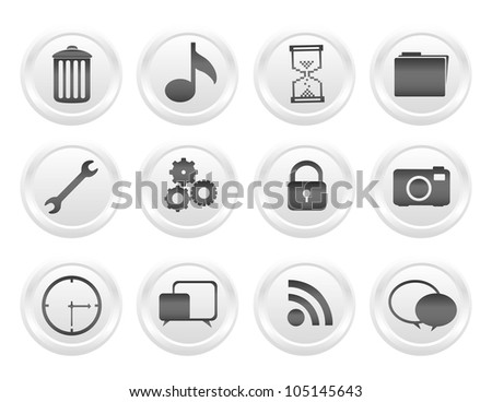 button icon set on white, vector illustration - stock vector