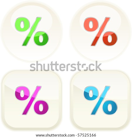 Button set with percent sign - stock vector