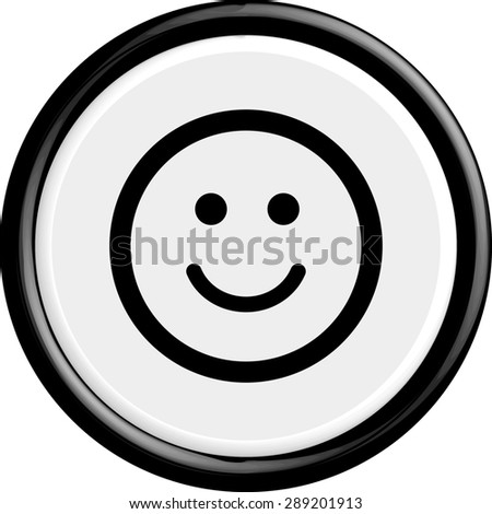 Button smile. The round shape. 3D. Vector illustration. - stock vector