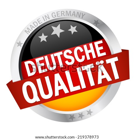 Button with Banner German Quality (in German) - stock vector
