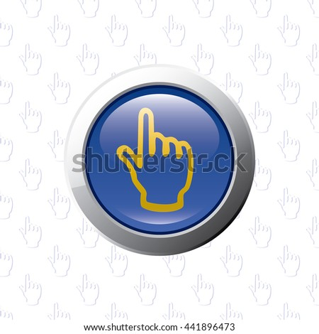 Button with Index Finger Pointer - Glossy Blue Grey and Orange Elements on Index Finger Pointer Wallpaper Background - Bevel 3D Realistic Style - stock vector