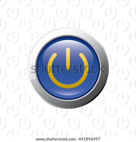 Button with Power Symbol - Glossy Blue Grey and Orange Elements on Power Symbol Wallpaper Background - Bevel 3D Realistic Style - stock vector