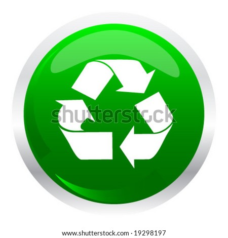 button with recycle symbol - stock vector
