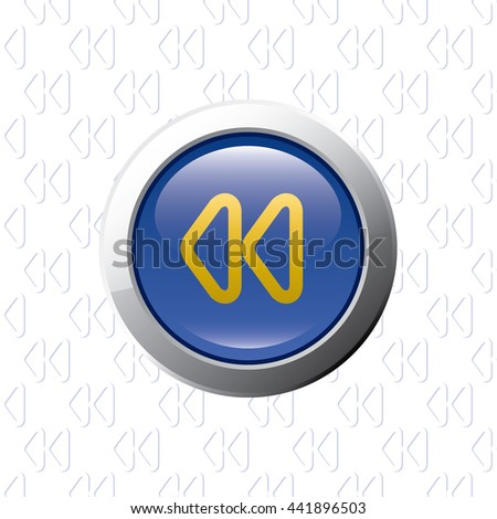 Button with Rewind Symbol - Glossy Blue Grey and Orange Elements on Rewind Symbol Wallpaper Background - Bevel 3D Realistic Style - stock vector