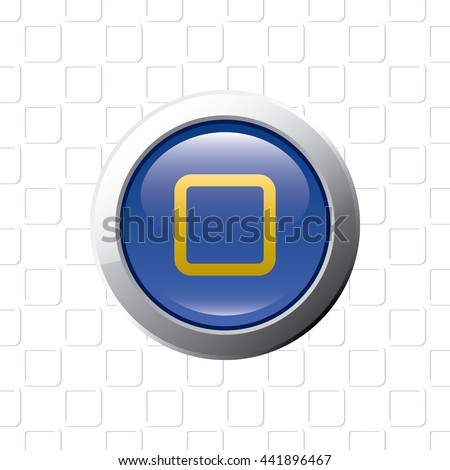 Button with Stop Symbol - Glossy Blue Grey and Orange Elements on Stop Symbol Wallpaper Background - Bevel 3D Realistic Style - stock vector