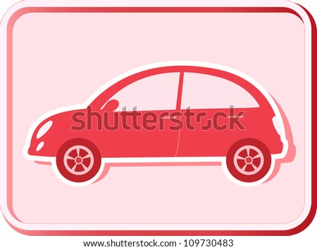 button with woman retro car silhouette - stock vector