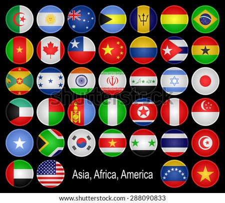 Buttons as flags of different countries. Asia, Africa, America and Australia, is presented. Located in alphabetical order. - stock vector