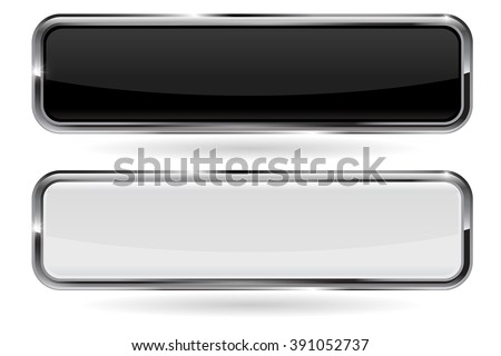 Buttons. Black and white button with metal chrome frame. Vector illustration isolated on white background - stock vector