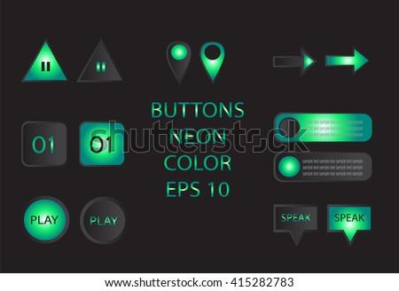 Buttons neon color vector - stock vector