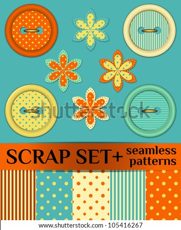 Buttons: scrap set - stock vector