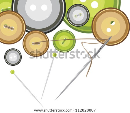 Buttons, sewing needle with thread. Vector - stock vector