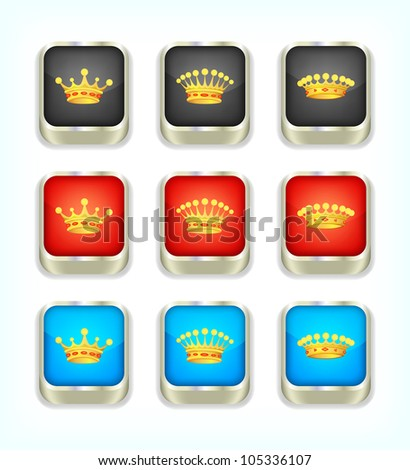 Buttons with crowns, part 2, vector, 10eps. - stock vector