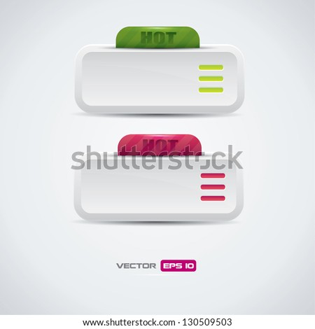 Buttons with hot label - stock vector