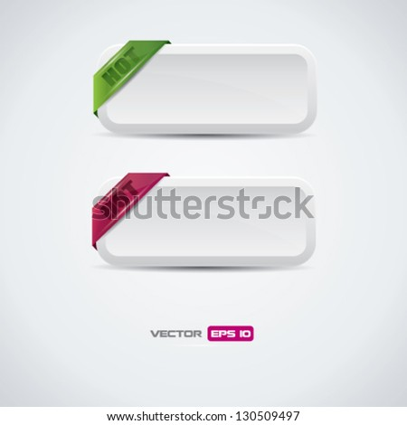 Buttons with hot labels - detailed vector design - stock vector