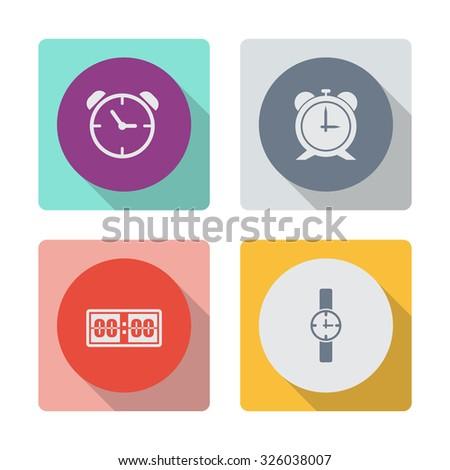 Buttons with shadow. Alarm vector icon. Digital alarm clock vector icon. Wristwatch vector icon. - stock vector