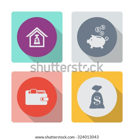 Buttons with shadow. Mortgage vector icon. Moneybox vector icon. Purse vector icon. Money bag icon. Dollar USD currency symbol. - stock vector