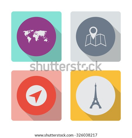 Buttons with shadow. World map vector icon. Pin on the map vector icon. Navigator vector icon. Eiffel tower in Paris vector icon. - stock vector