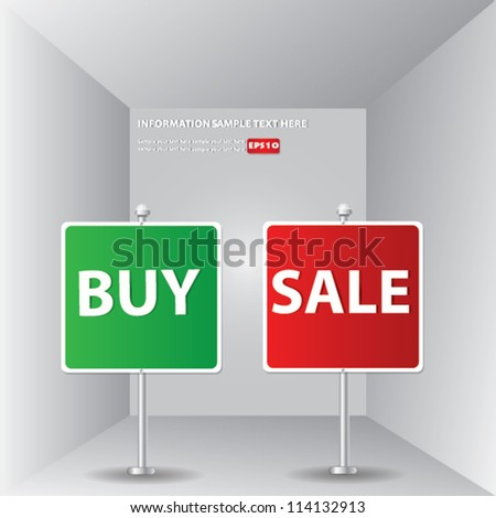 Buy and sale signpost for text,Vector - stock vector