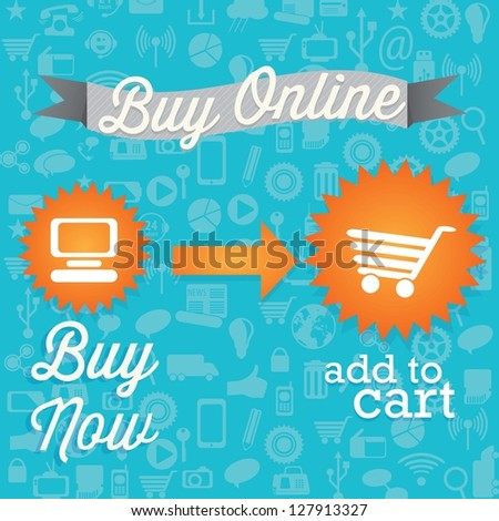 Buy Now! (add to cart) On blue background. Vector - stock vector