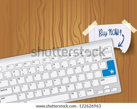 Buy now - blue key computer keyboard - stock vector
