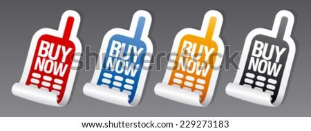 Buy now stickers set. - stock vector