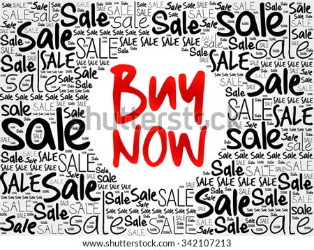 BUY NOW word cloud background, business concept - stock vector