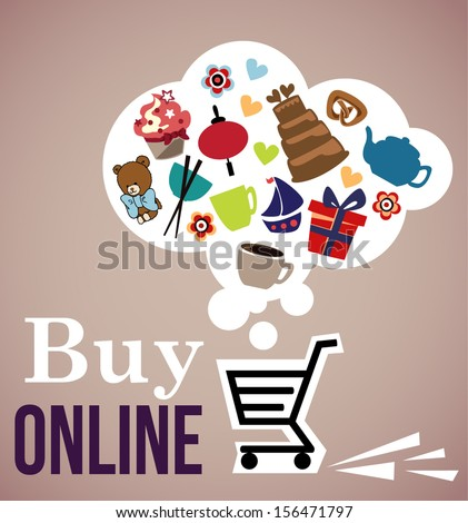 Buy On line, color icons - stock vector