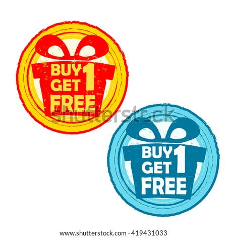 buy one get one free with gift signs - text in yellow red and blue drawn label with present box symbols, business shopping concept, vector - stock vector