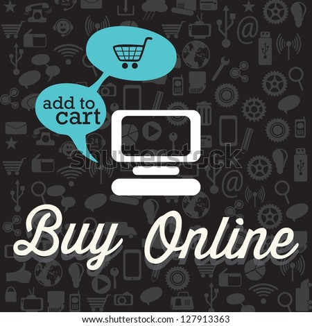Buy Online (add to cart) with Icons. On black background. Vector - stock vector