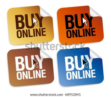 Buy online stickers set. - stock vector