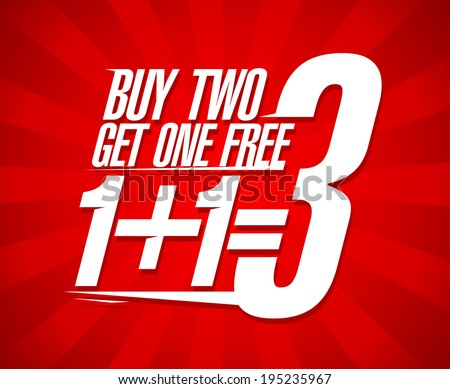 Buy two get one free sale design. - stock vector