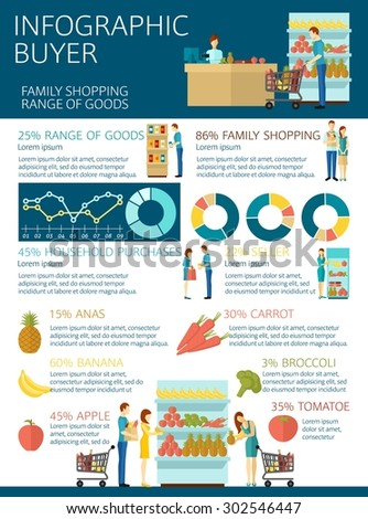 Buyer infographics set with customers and consumers symbols and charts vector illustration - stock vector